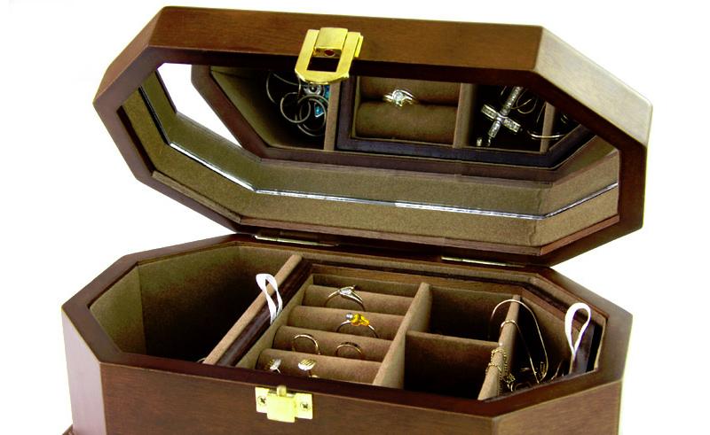 Cofanetto porta anelli e gioielli in legno ottagonale - Porta orologi automatici ...