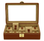 Vetrina 10 orologi in vera pelle Marrone