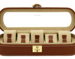 Vetrina 5 orologi in vera pelle Marrone