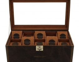 Vetrina 20 orologi in vera pelle anticata