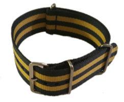 Cinturino in tessuto tipo Nato Blu-Giallo 24 mm
