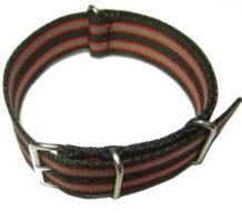 Cinturino in tessuto tipo Nato Nero-Rosso-Grigio 20 mm