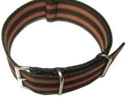 Cinturino in tessuto tipo Nato Nero-Rosso-Grigio 22 mm