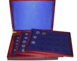 Scatola porta monete da collezione in legno 98 posti