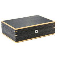 Custodia 10 orologi in legno bicolor finitura noce scuro