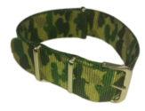 Cinturino in tessuto tipo Nato Mimetico Verde 24 mm