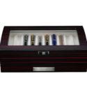 Scatola Portapenne con vetrina per 20 penne in legno Mogano
