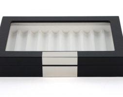 Scatola Portapenne con vetrina per 10 penne in legno Nera