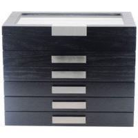 Scatola Portapenne con vetrina per 60 penne in legno Nera
