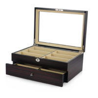 Vetrina porta 12 paia di occhiali in legno con cassettino