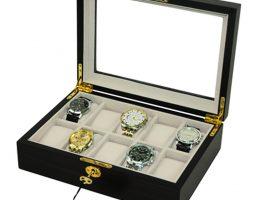 Vetrina 10 orologi in legno mogano