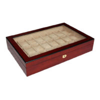 Vetrina 24 orologi in legno ciliegio