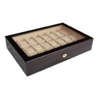 Vetrina 24 orologi in legno mogano