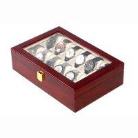 Vetrina 12 orologi in legno cherry