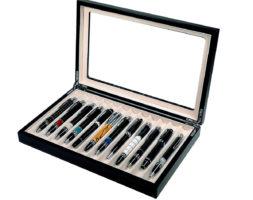 Scatola Portapenne con vetrina per 12 penne in legno Nera