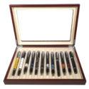 Scatola Portapenne con vetrina per 12 penne in legno Noce