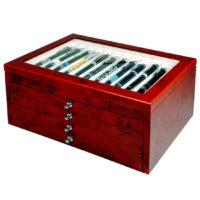 Vetrina per 56 penne in legno Noce