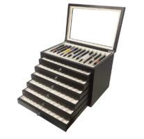 Vetrina per 78 penne in legno Nera