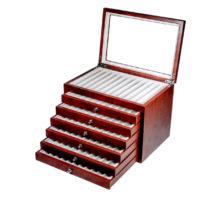 Vetrina per 78 penne in legno Noce