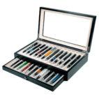 Scatola Portapenne con vetrina per 23 penne in legno Nera