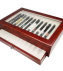 Scatola Portapenne con vetrina per 23 penne in legno Noce