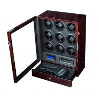 Watch Winder carica 9 orologi automatici Mogano LED