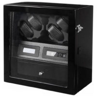 Watch Winder carica 4 orologi automatici Carbon LED Battery