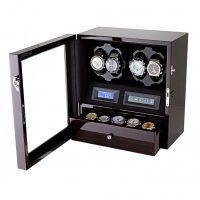 Watch Winder carica 4 orologi automatici Mogano LED Battery